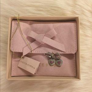 Judith Ripka Pink Sapphire 925/18K Heart Earrings